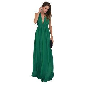 Deep v neck backless cross back maxi dress